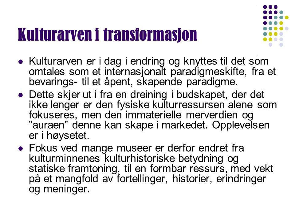 Kulturarven i transformasjon Kulturarven er i dag i endring og knyttes til det som omtales som et internasjonalt paradigmeskifte, fra et bevarings- ti