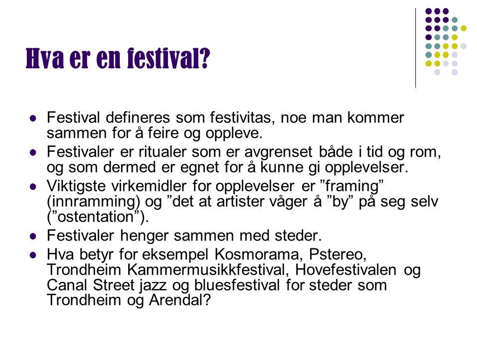 Hva er en festival? Festival defineres som festivitas, noe man kommer sammen for å feire og oppleve. Festivaler er ritualer som er avgrenset både i ti