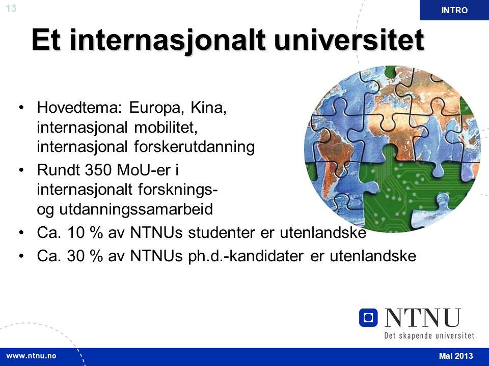 13 Et internasjonalt universitet Hovedtema: Europa, Kina, internasjonal mobilitet, internasjonal forskerutdanning Rundt 350 MoU-er i internasjonalt fo