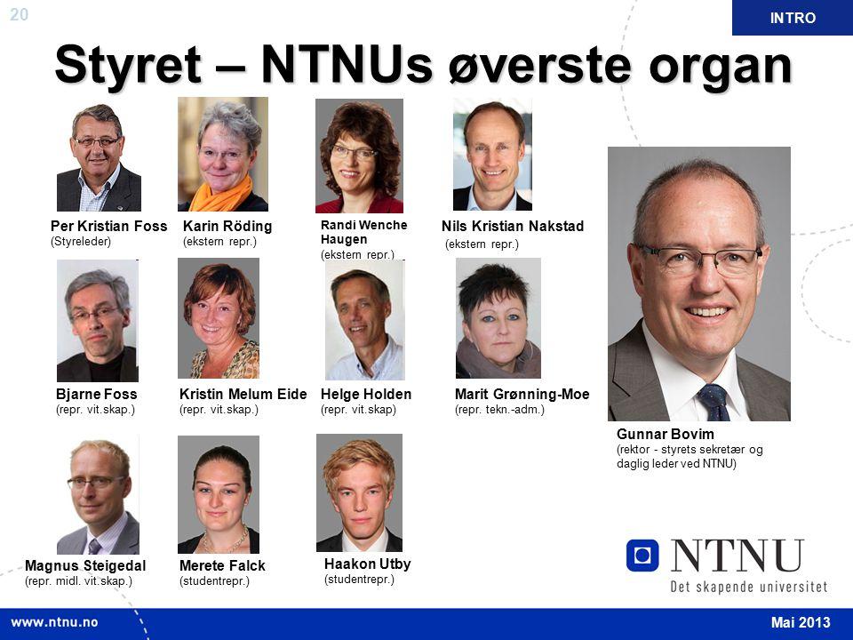 20 Styret – NTNUs øverste organ Per Kristian Foss (Styreleder) Bjarne Foss (repr. vit.skap.) Magnus Steigedal (repr. midl. vit.skap.) Karin Röding (ek
