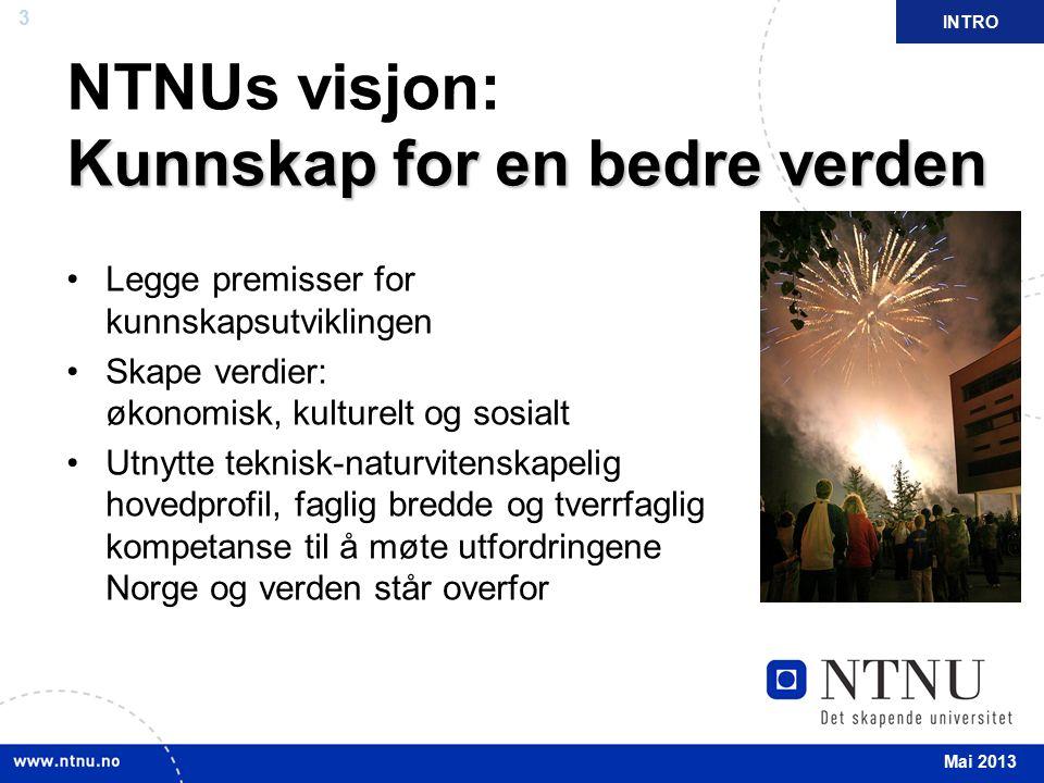 3 April 2012 Kunnskap for en bedre verden NTNUs visjon: Kunnskap for en bedre verden Legge premisser for kunnskapsutviklingen Skape verdier: økonomisk