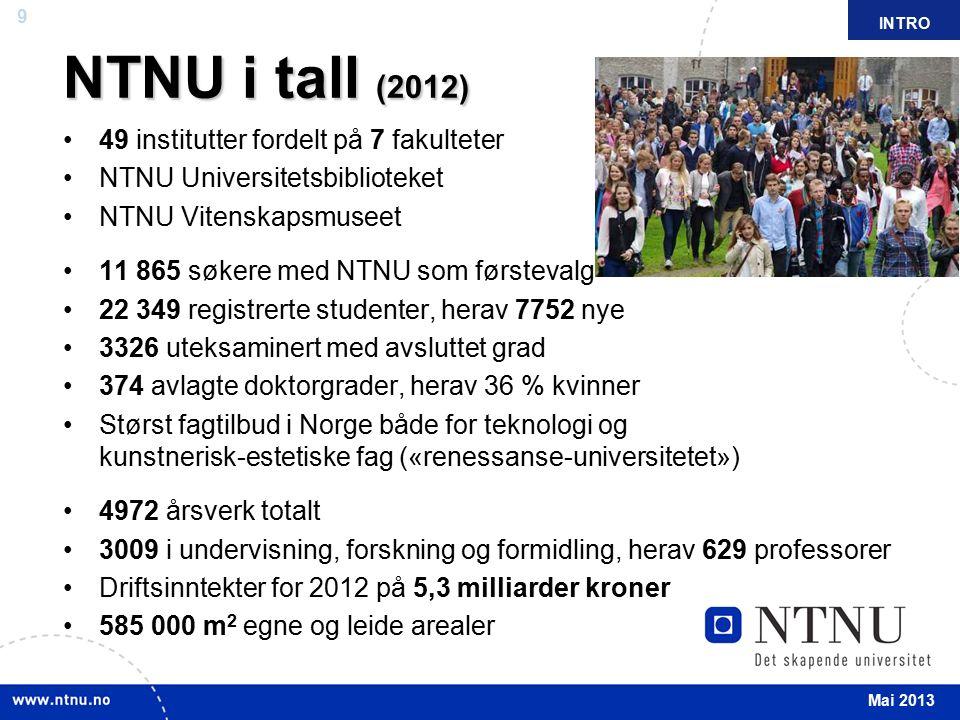 9 April 2012 49 institutter fordelt på 7 fakulteter NTNU Universitetsbiblioteket NTNU Vitenskapsmuseet 11 865 søkere med NTNU som førstevalg 22 349 re