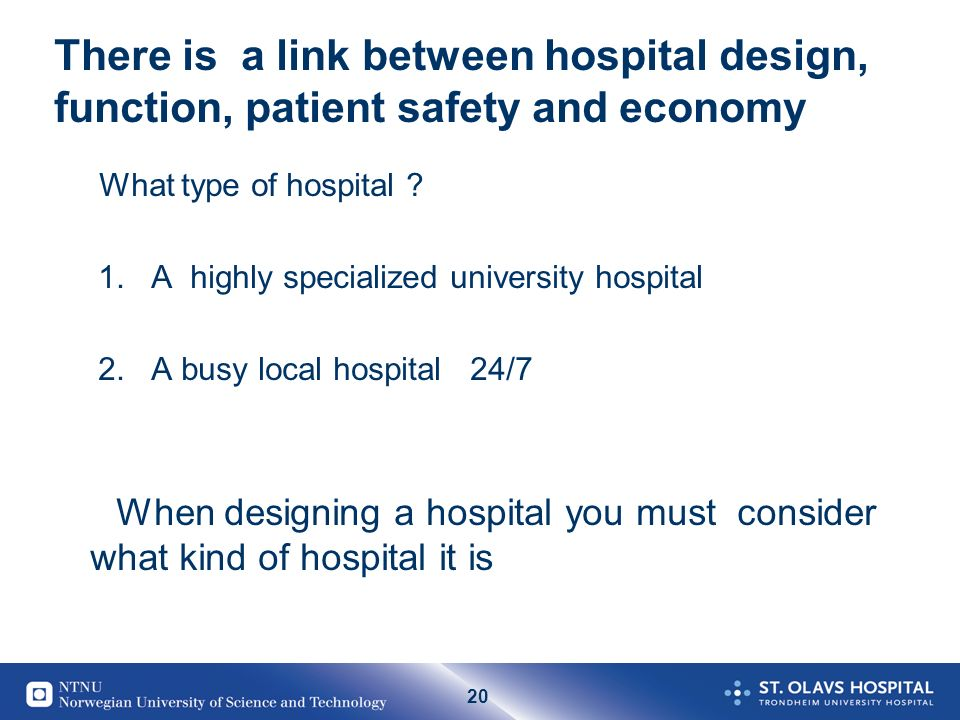 20 There is a link between hospital design, function, patient safety and economy What type of hospital .