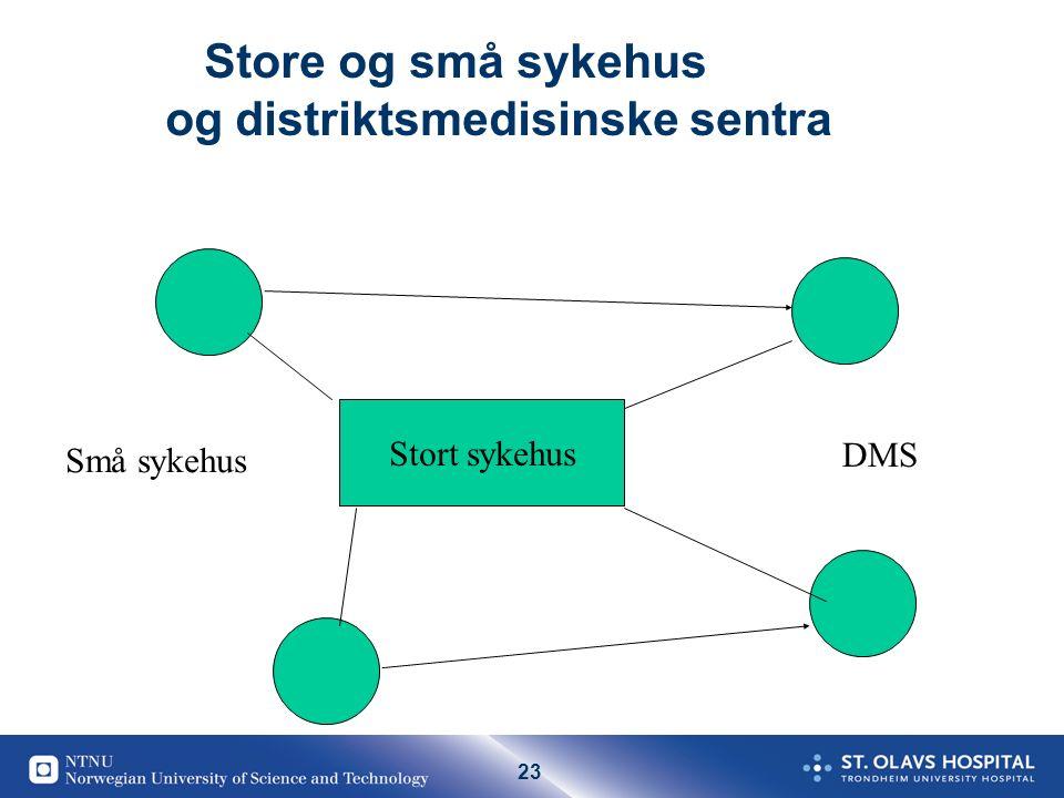 23 Store og små sykehus og distriktsmedisinske sentra Stort sykehus Små sykehus DMS