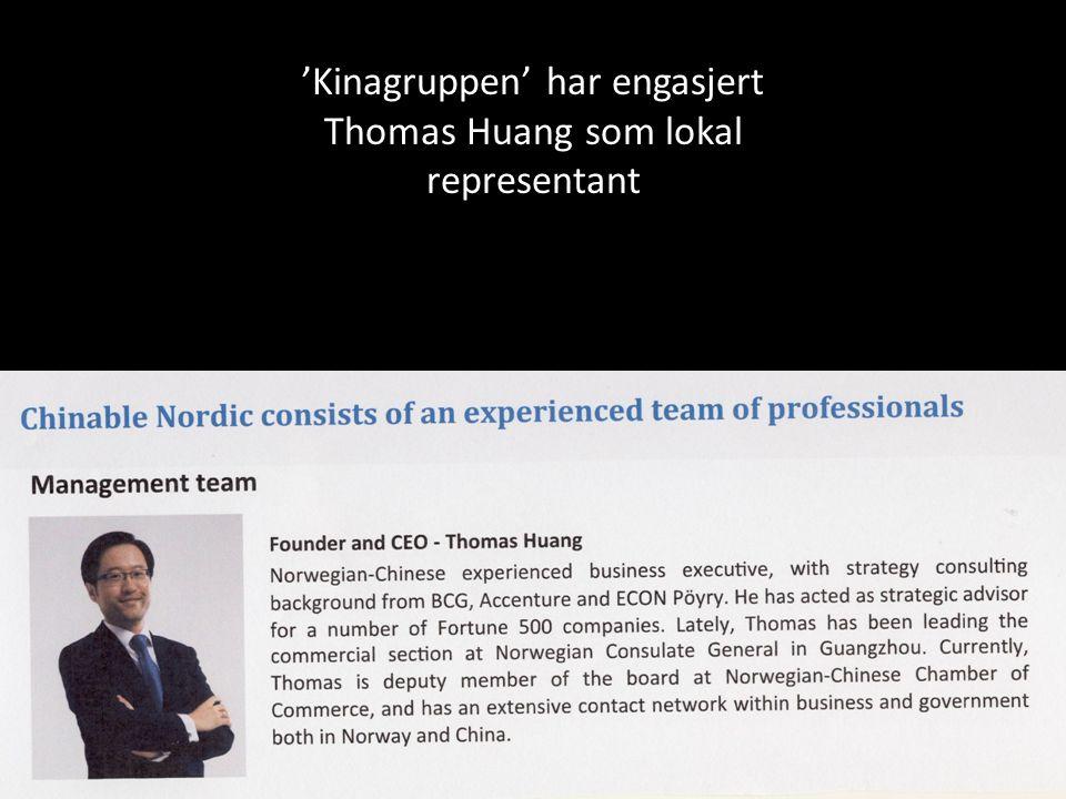 'Kinagruppen' har engasjert Thomas Huang som lokal representant