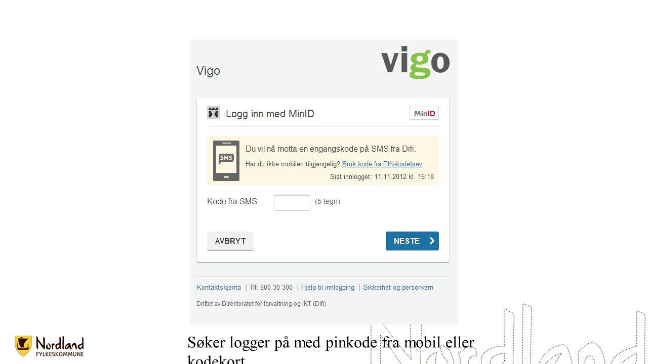 Søker logger på med pinkode fra mobil eller kodekort