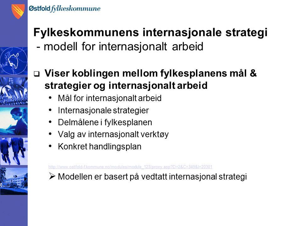 Fylkeskommunens internasjonale strategi - modell for internasjonalt arbeid  Viser koblingen mellom fylkesplanens mål & strategier og internasjonalt arbeid Mål for internasjonalt arbeid Internasjonale strategier Delmålene i fylkesplanen Valg av internasjonalt verktøy Konkret handlingsplan http://www.ostfold-f.kommune.no/modules/module_123/proxy.asp?D=2&C=349&I=20301  Modellen er basert på vedtatt internasjonal strategi