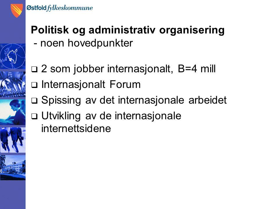 Politisk og administrativ organisering - noen hovedpunkter  2 som jobber internasjonalt, B=4 mill  Internasjonalt Forum  Spissing av det internasjonale arbeidet  Utvikling av de internasjonale internettsidene