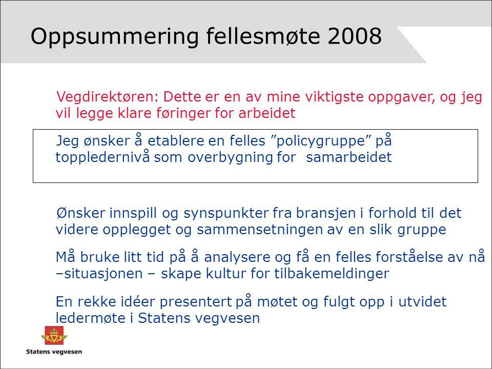 Policygruppe Etablert oktober 2008 Arbeidsutvalg kom i gang i februar, lagt fram første versjon av mandat, visjon og tiltaksplan for policygruppa Skal til møte 29.