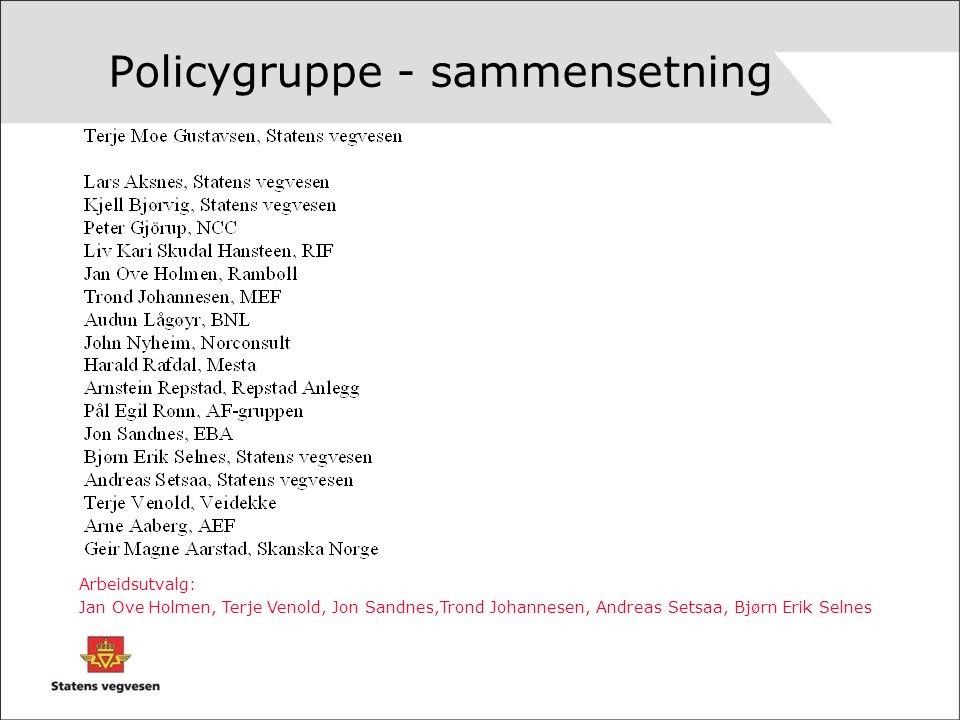 Policygruppe - sammensetning Arbeidsutvalg: Jan Ove Holmen, Terje Venold, Jon Sandnes,Trond Johannesen, Andreas Setsaa, Bjørn Erik Selnes