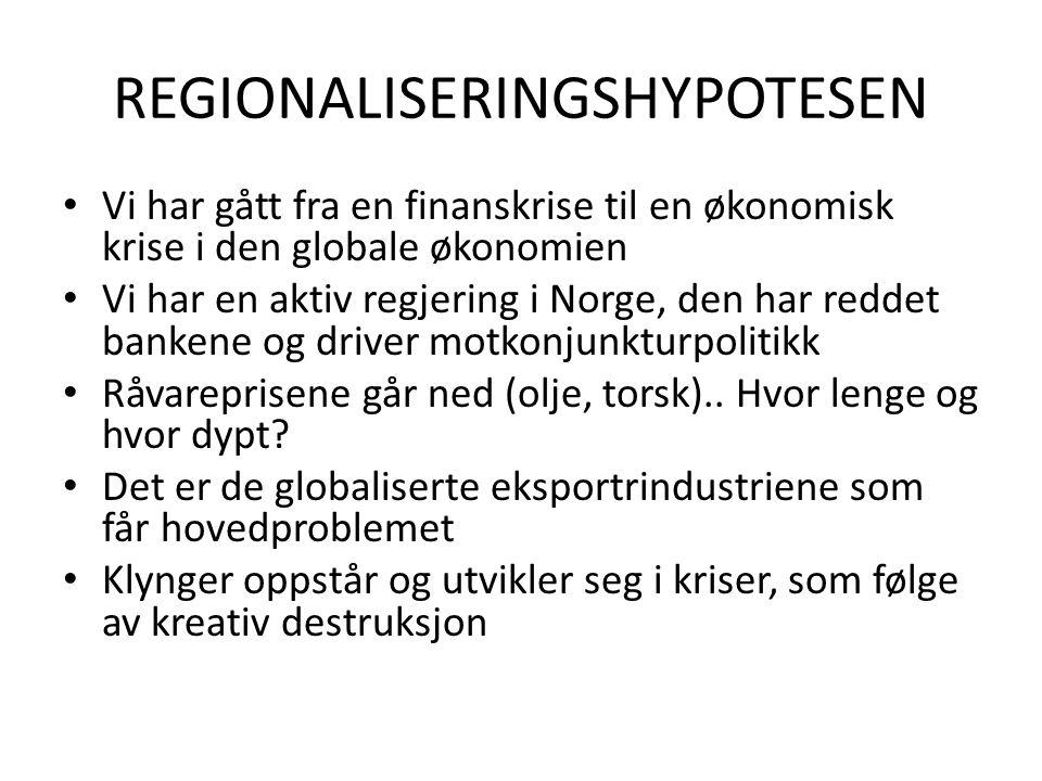 REGIONALISERINGSHYPOTESEN Vi har gått fra en finanskrise til en økonomisk krise i den globale økonomien Vi har en aktiv regjering i Norge, den har reddet bankene og driver motkonjunkturpolitikk Råvareprisene går ned (olje, torsk)..
