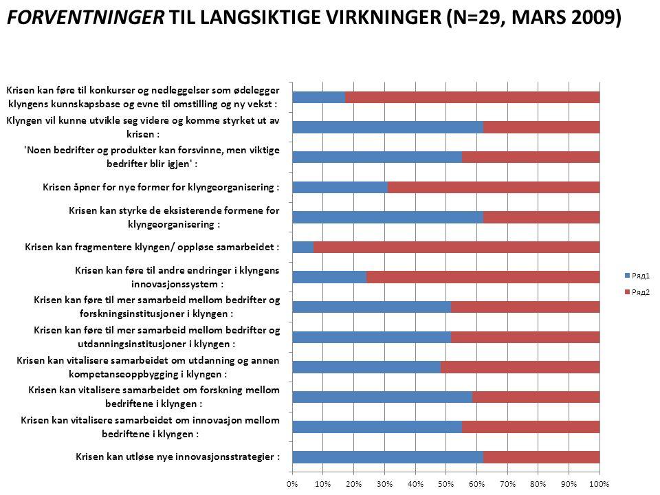 FORVENTNINGER TIL LANGSIKTIGE VIRKNINGER (N=29, MARS 2009)