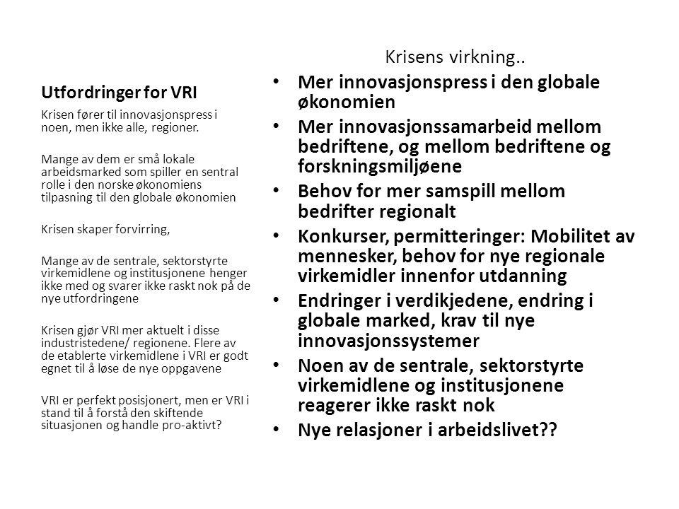 Utfordringer for VRI Krisens virkning..