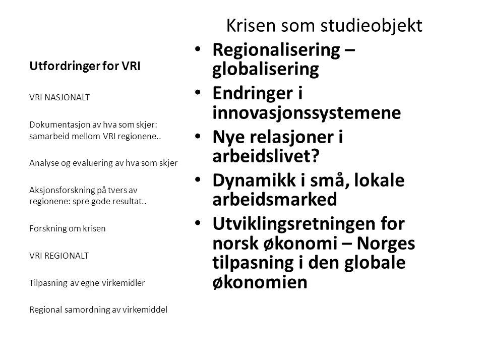 Utfordringer for VRI Krisen som studieobjekt Regionalisering – globalisering Endringer i innovasjonssystemene Nye relasjoner i arbeidslivet? Dynamikk