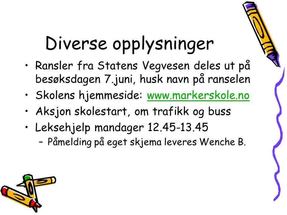 Diverse opplysninger Ransler fra Statens Vegvesen deles ut på besøksdagen 7.juni, husk navn på ranselen Skolens hjemmeside: www.markerskole.nowww.mark