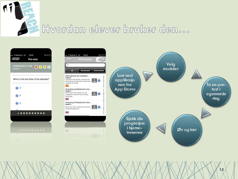 12 Last ned applikasjo nen fra App Stores Velg moduler Ta en pre- test i egenvurde ring Øv og lær Sjekk din progresjon i hjerne- treneren