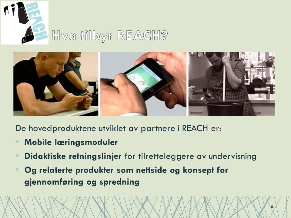 De hovedproduktene utviklet av partnere i REACH er: Mobile læringsmoduler Didaktiske retningslinjer for tilretteleggere av undervisning Og relaterte produkter som nettside og konsept for gjennomføring og spredning 6