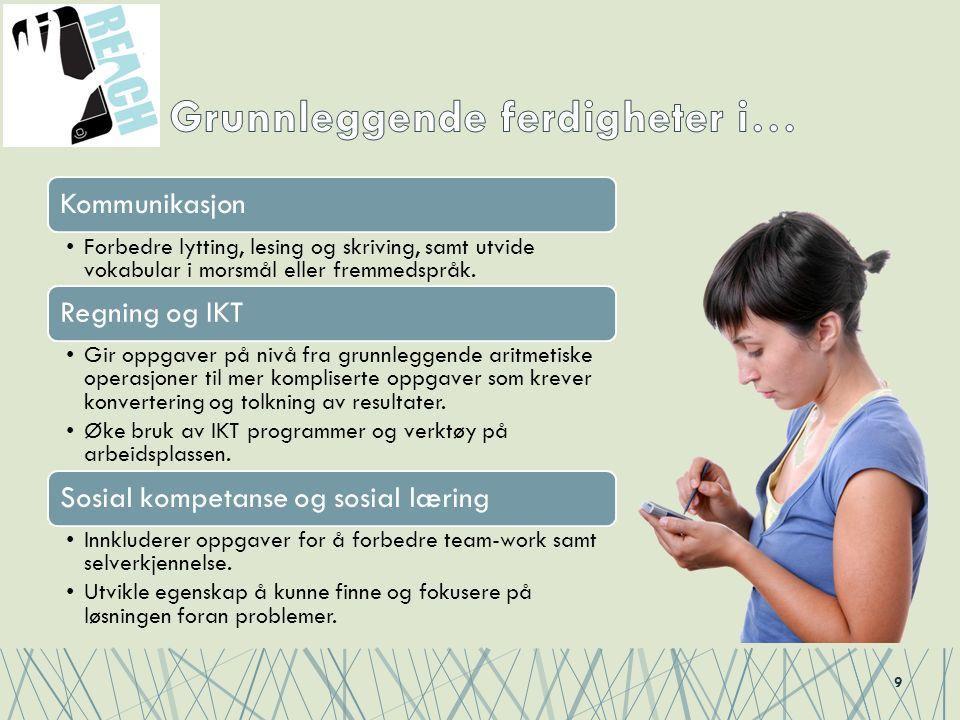 9 Kommunikasjon Forbedre lytting, lesing og skriving, samt utvide vokabular i morsmål eller fremmedspråk. Regning og IKT Gir oppgaver på nivå fra grun