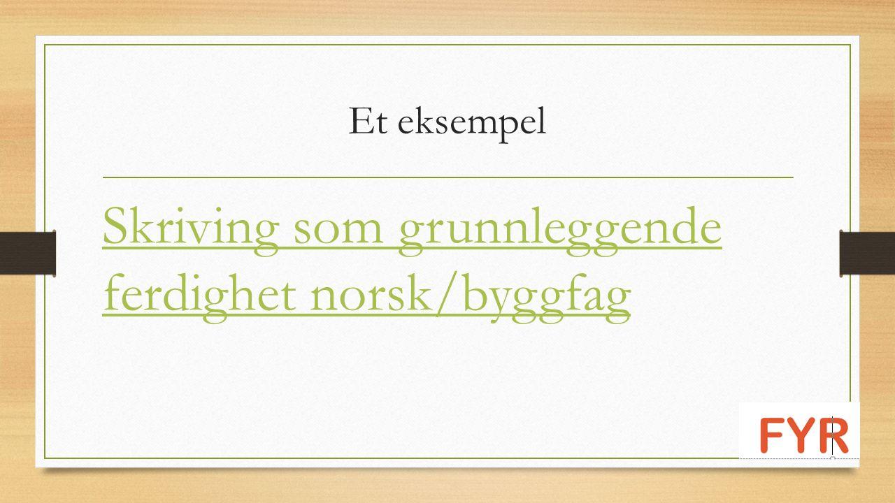 Et eksempel Skriving som grunnleggende ferdighet norsk/byggfag