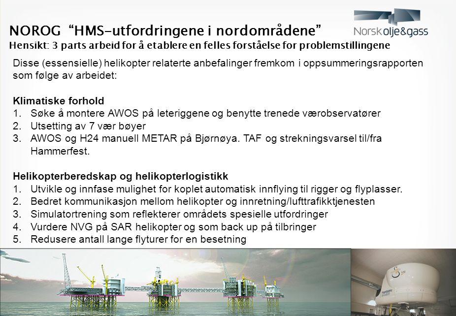 NOROG HMS-utfordringene i nordområdene Hensikt: 3 parts arbeid for å etablere en felles forståelse for problemstillingene Disse (essensielle) helikopter relaterte anbefalinger fremkom i oppsummeringsrapporten som følge av arbeidet: Klimatiske forhold 1.Søke å montere AWOS på leteriggene og benytte trenede værobservatører 2.Utsetting av 7 vær bøyer 3.AWOS og H24 manuell METAR på Bjørnøya.