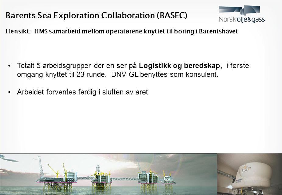 Barents Sea Exploration Collaboration (BASEC) Hensikt: HMS samarbeid mellom operatørene knyttet til boring i Barentshavet Totalt 5 arbeidsgrupper der en ser på Logistikk og beredskap, i første omgang knyttet til 23 runde.