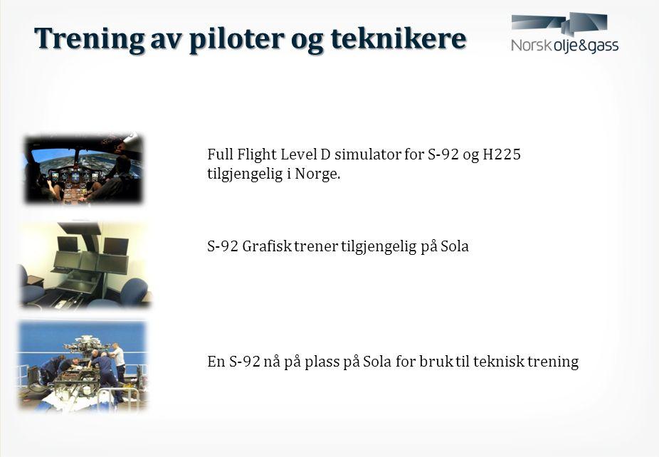 Trening av piloter og teknikere Full Flight Level D simulator for S-92 og H225 tilgjengelig i Norge.
