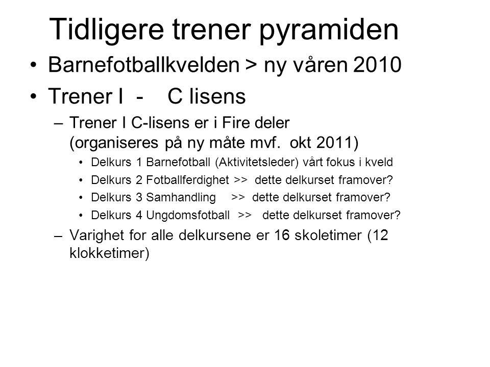 Tidligere trener pyramiden Barnefotballkvelden > ny våren 2010 Trener I - C lisens –Trener I C-lisens er i Fire deler (organiseres på ny måte mvf.