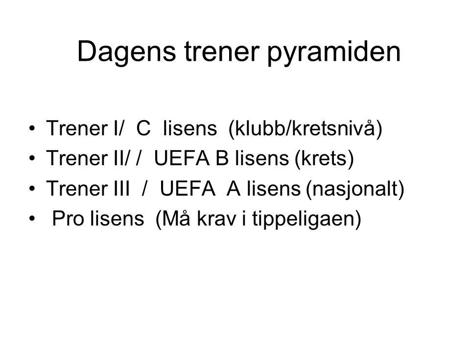 Dagens trener pyramiden Trener I/ C lisens (klubb/kretsnivå) Trener II/ / UEFA B lisens (krets) Trener III / UEFA A lisens (nasjonalt) Pro lisens (Må krav i tippeligaen)