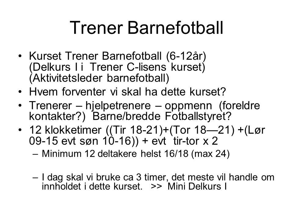 Trener Barnefotball Kurset Trener Barnefotball (6-12år) (Delkurs I i Trener C-lisens kurset) (Aktivitetsleder barnefotball) Hvem forventer vi skal ha dette kurset.