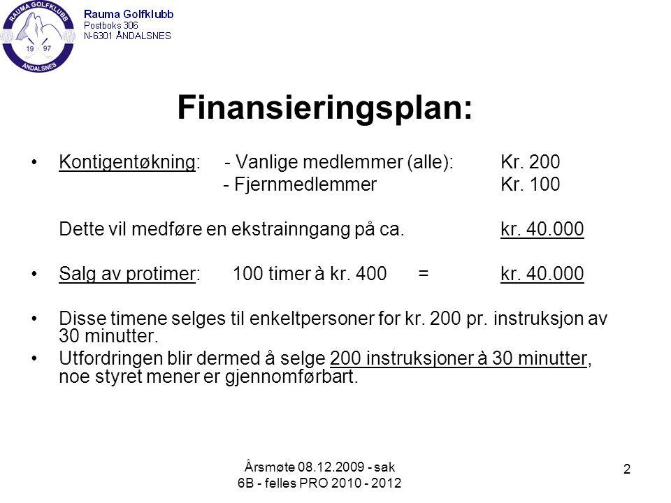 Årsmøte 08.12.2009 - sak 6B - felles PRO 2010 - 2012 2 Finansieringsplan: Kontigentøkning: - Vanlige medlemmer (alle): Kr.