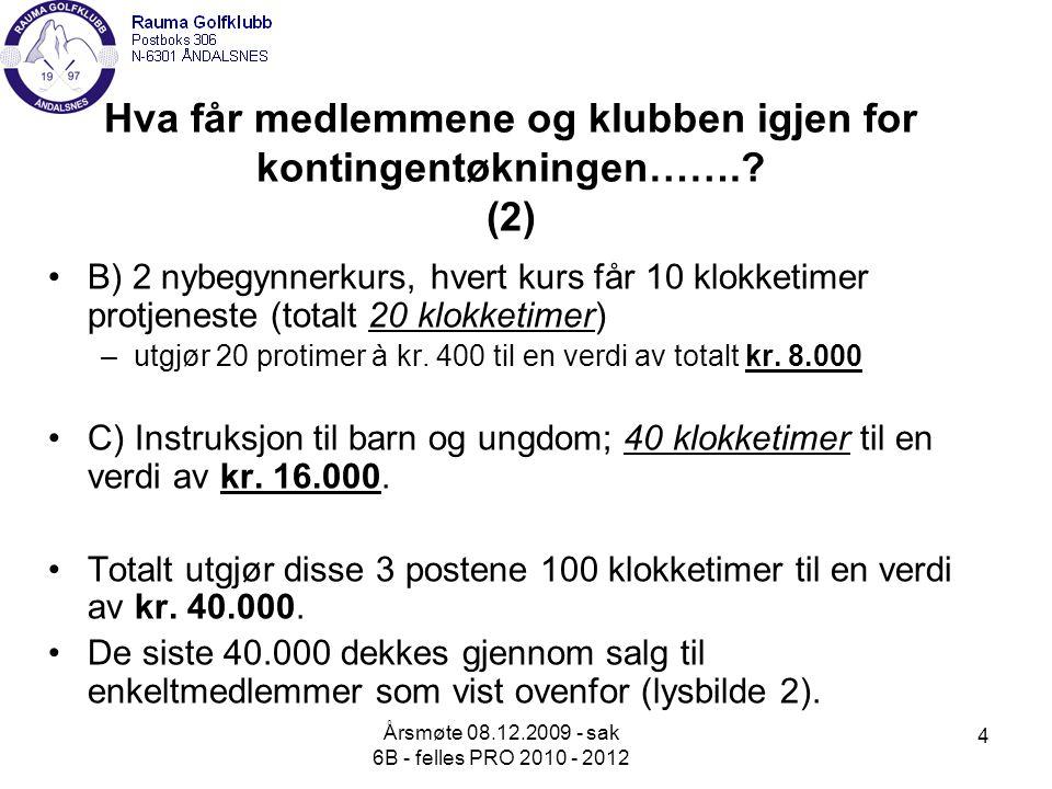 Årsmøte 08.12.2009 - sak 6B - felles PRO 2010 - 2012 4 Hva får medlemmene og klubben igjen for kontingentøkningen……..