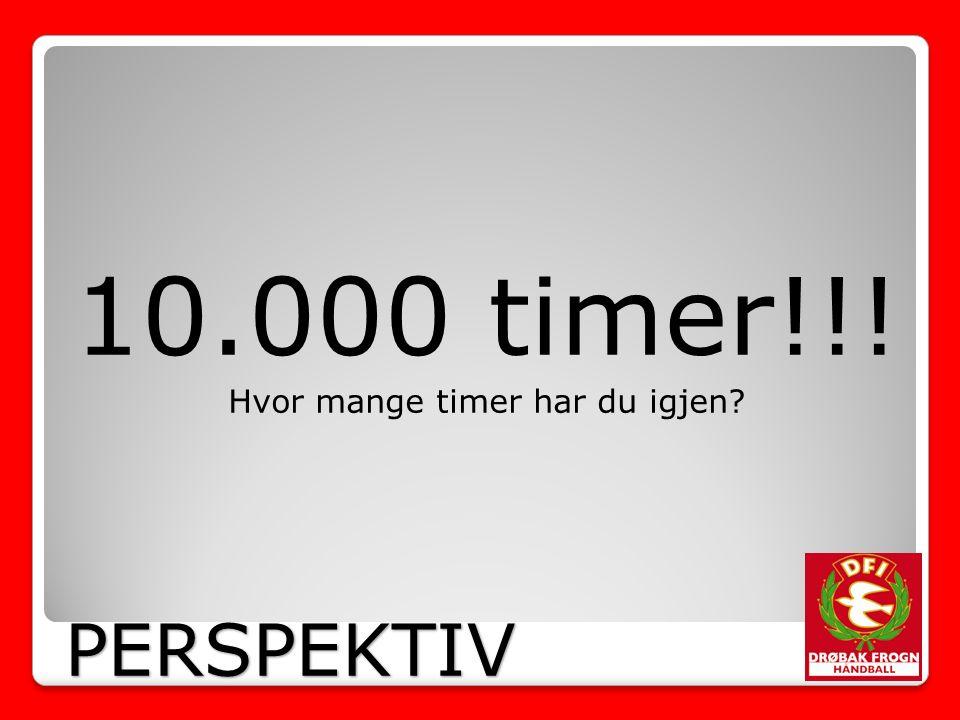 10.000 timer!!! Hvor mange timer har du igjen PERSPEKTIV