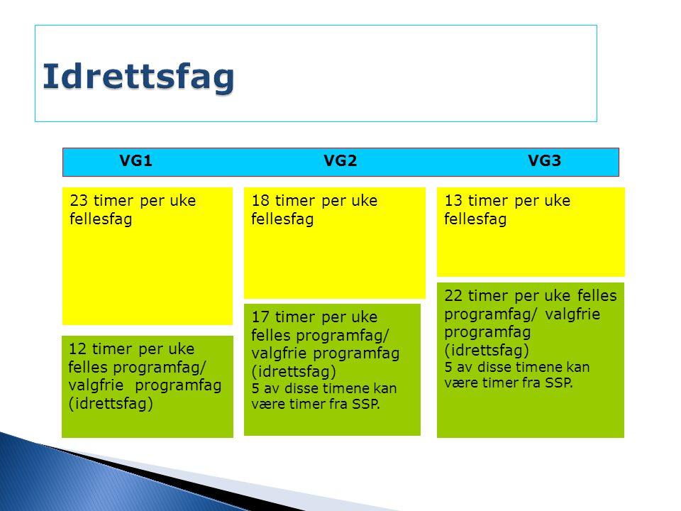VG1VG2VG3 12 timer per uke felles programfag/ valgfrie programfag (idrettsfag) 17 timer per uke felles programfag/ valgfrie programfag (idrettsfag) 5 av disse timene kan være timer fra SSP.