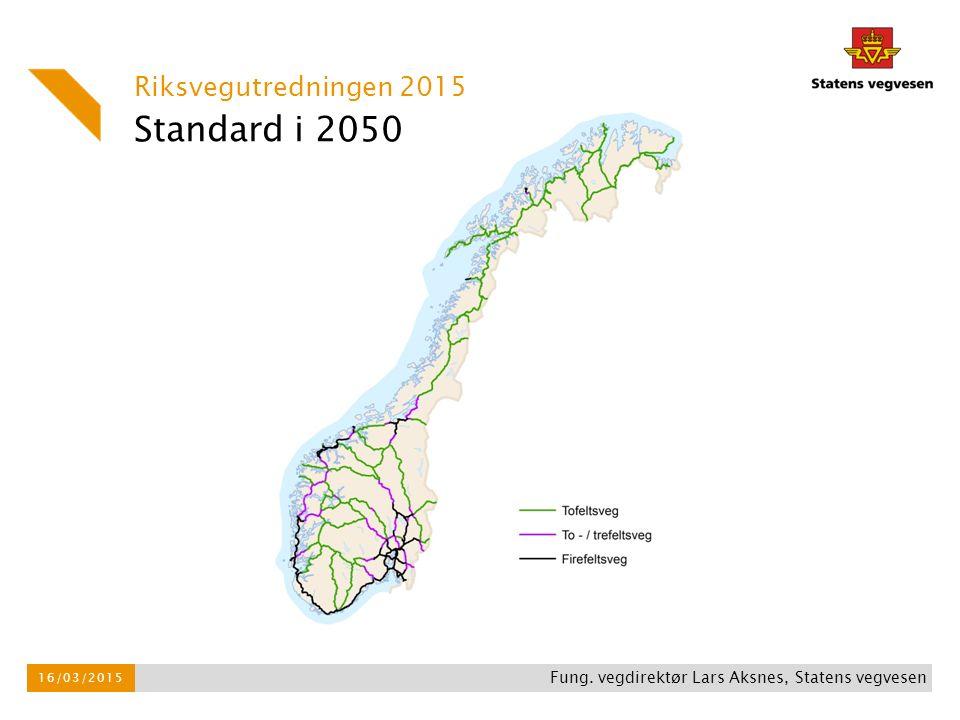 Standard i 2050 Riksvegutredningen 2015 16/03/2015 Fung. vegdirektør Lars Aksnes, Statens vegvesen