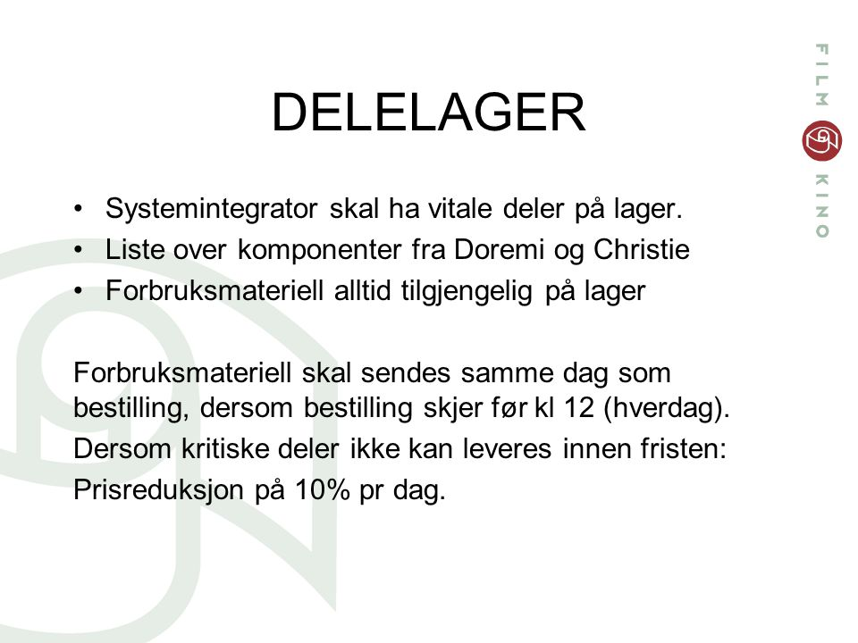 DELELAGER Systemintegrator skal ha vitale deler på lager.