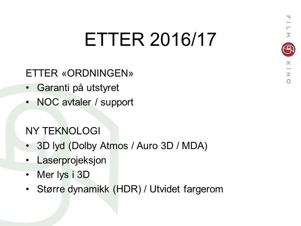 ETTER 2016/17 ETTER «ORDNINGEN» Garanti på utstyret NOC avtaler / support NY TEKNOLOGI 3D lyd (Dolby Atmos / Auro 3D / MDA) Laserprojeksjon Mer lys i 3D Større dynamikk (HDR) / Utvidet fargerom