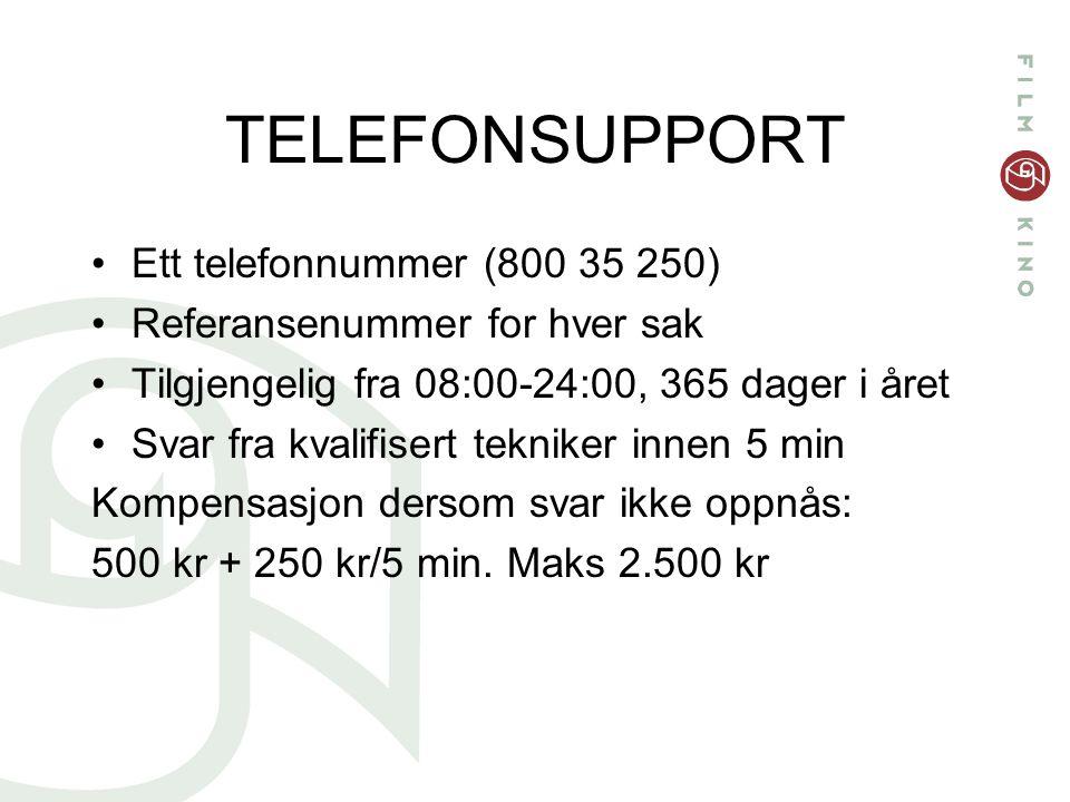 TELEFONSUPPORT Ett telefonnummer (800 35 250) Referansenummer for hver sak Tilgjengelig fra 08:00-24:00, 365 dager i året Svar fra kvalifisert tekniker innen 5 min Kompensasjon dersom svar ikke oppnås: 500 kr + 250 kr/5 min.
