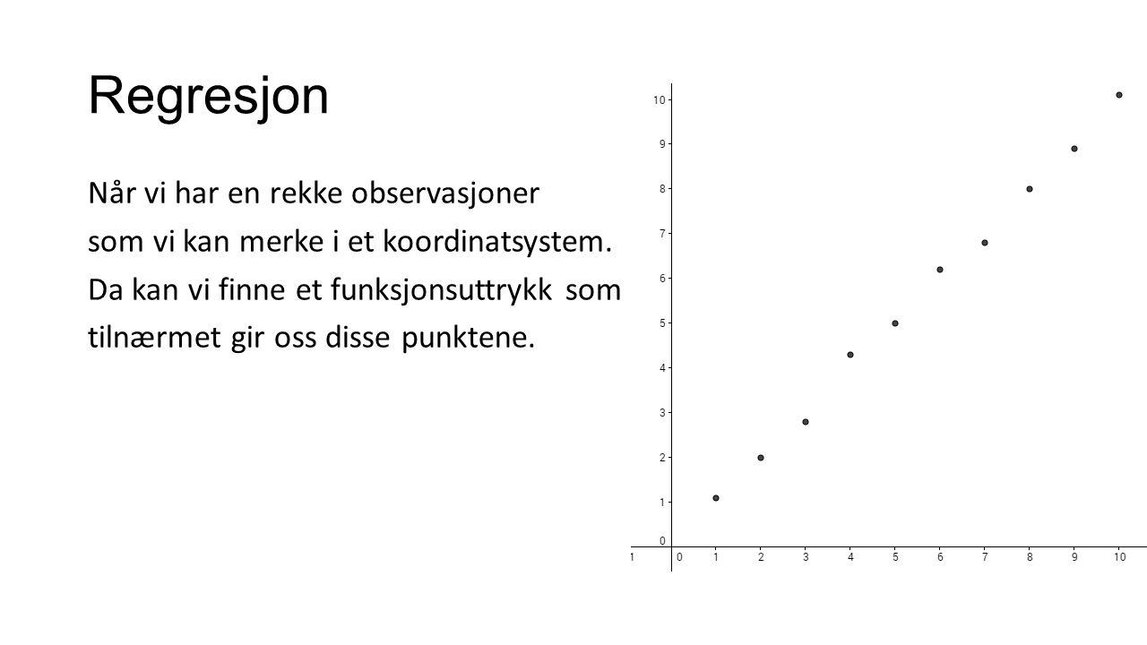 Regresjon Når vi har en rekke observasjoner som vi kan merke i et koordinatsystem.