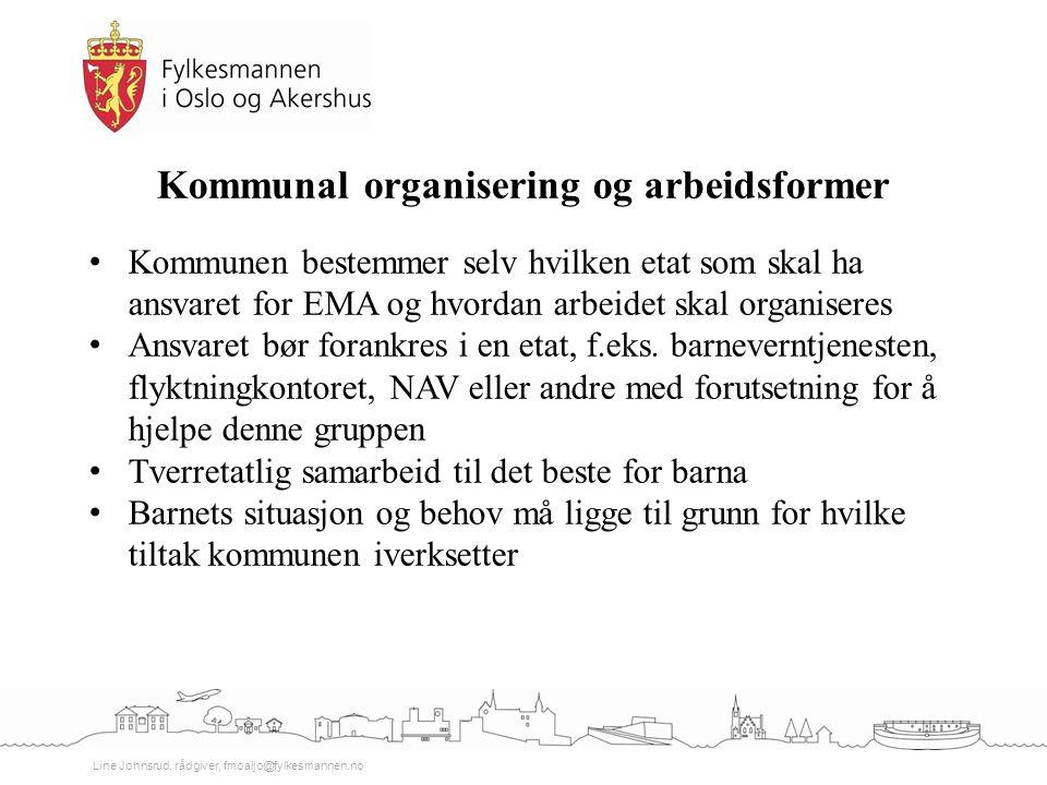 Line Johnsrud, rådgiver, fmoaljo@fylkesmannen.no Kommunal organisering og arbeidsformer Kommunen bestemmer selv hvilken etat som skal ha ansvaret for