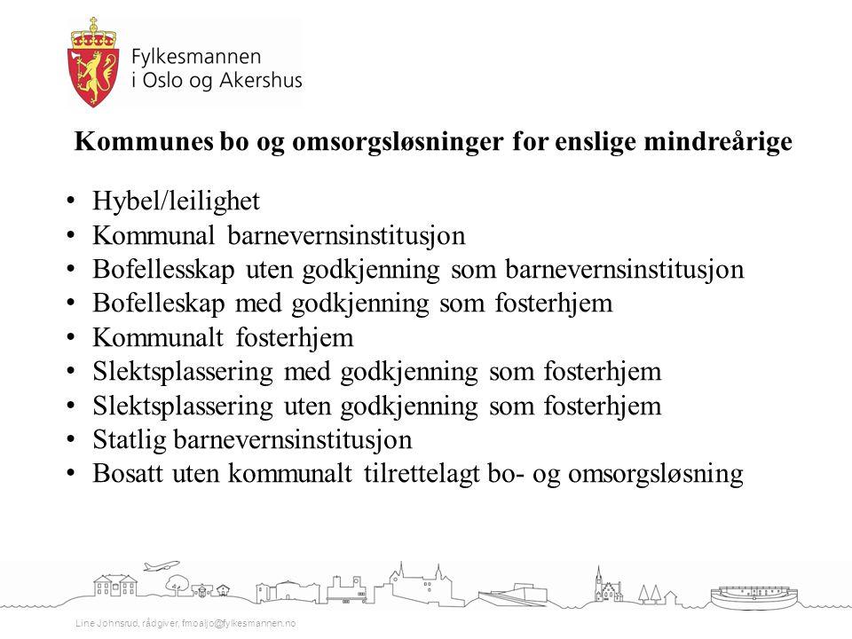 Line Johnsrud, rådgiver, fmoaljo@fylkesmannen.no Kommunes bo og omsorgsløsninger for enslige mindreårige Hybel/leilighet Kommunal barnevernsinstitusjo
