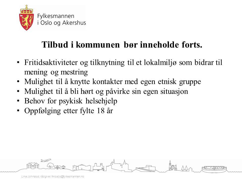 Line Johnsrud, rådgiver, fmoaljo@fylkesmannen.no Tilbud i kommunen bør inneholde forts. Fritidsaktiviteter og tilknytning til et lokalmiljø som bidrar
