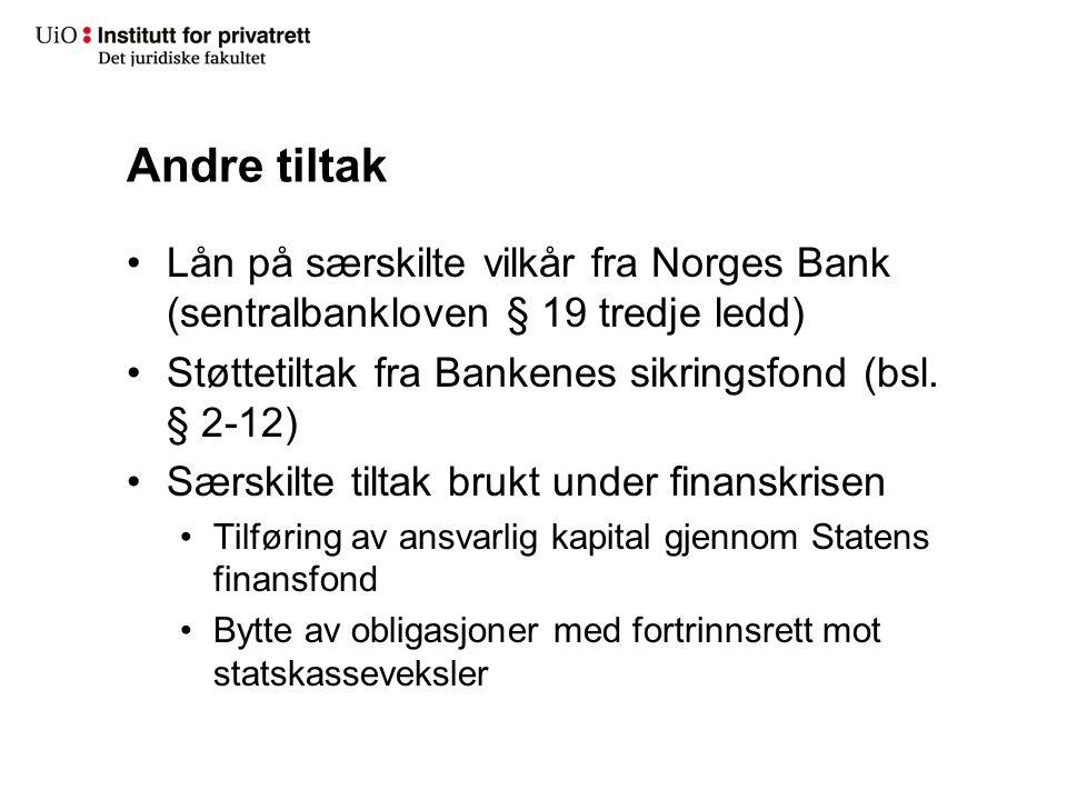 Andre tiltak Lån på særskilte vilkår fra Norges Bank (sentralbankloven § 19 tredje ledd) Støttetiltak fra Bankenes sikringsfond (bsl. § 2-12) Særskilt