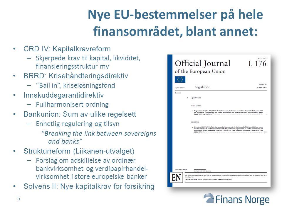 Nye EU-bestemmelser på hele finansområdet, blant annet: 5 CRD IV: Kapitalkravreform – Skjerpede krav til kapital, likviditet, finansieringsstruktur mv