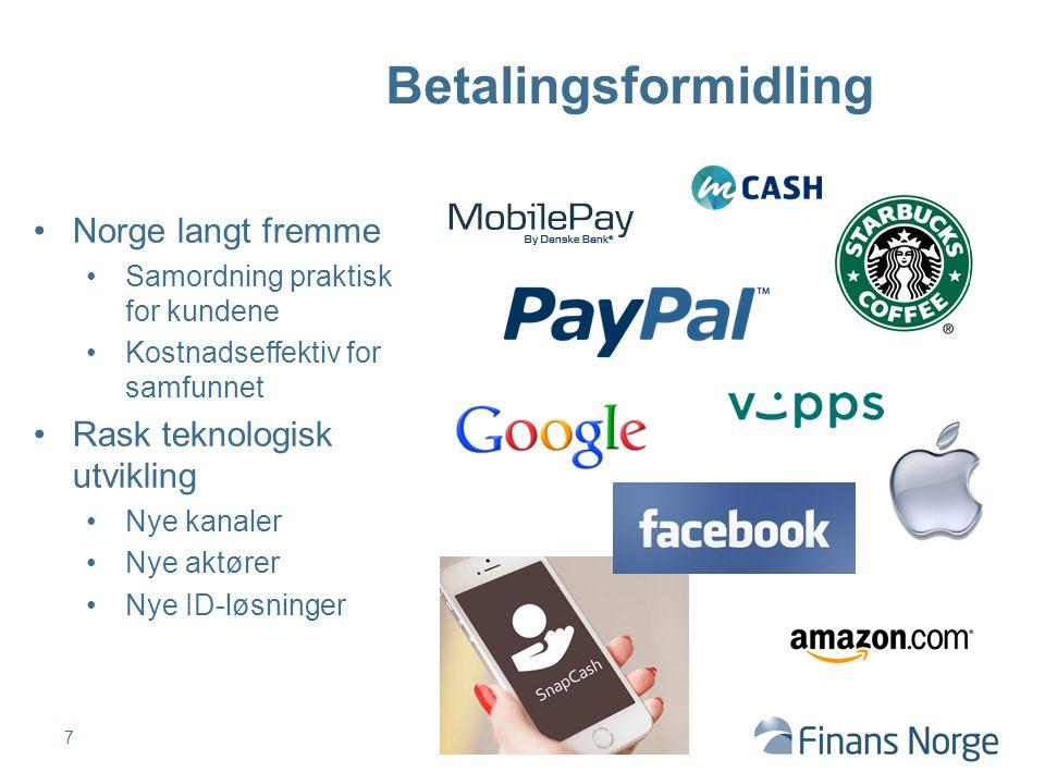 7 Betalingsformidling Norge langt fremme Samordning praktisk for kundene Kostnadseffektiv for samfunnet Rask teknologisk utvikling Nye kanaler Nye aktører Nye ID-løsninger