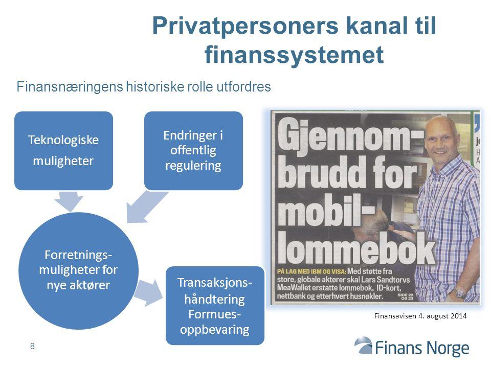 Finansnæringens historiske rolle utfordres 8 Privatpersoners kanal til finanssystemet Finansavisen 4. august 2014 Forretnings- muligheter for nye aktø