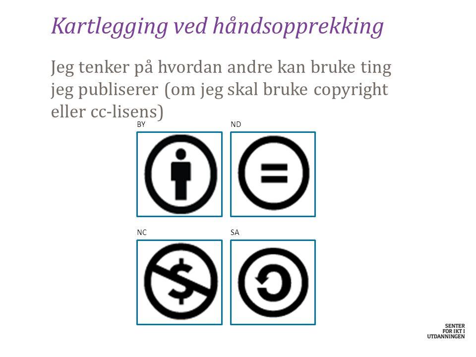 Kartlegging ved håndsopprekking Jeg tenker på hvordan andre kan bruke ting jeg publiserer (om jeg skal bruke copyright eller cc-lisens) BYND NCSA