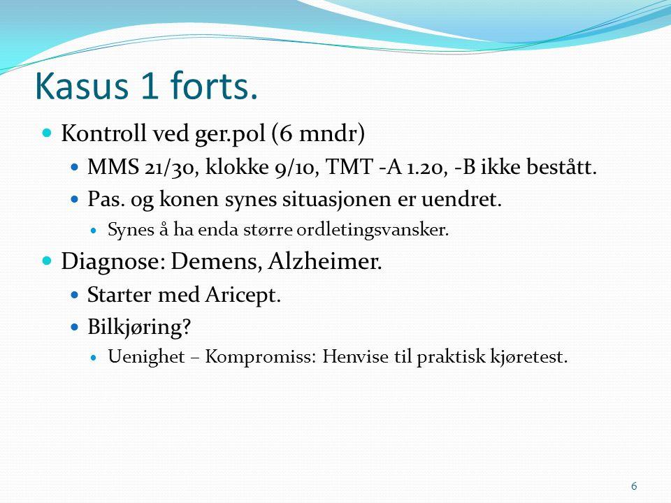 Kasus 1 forts. Kontroll ved ger.pol (6 mndr) MMS 21/30, klokke 9/10, TMT -A 1.20, -B ikke bestått.