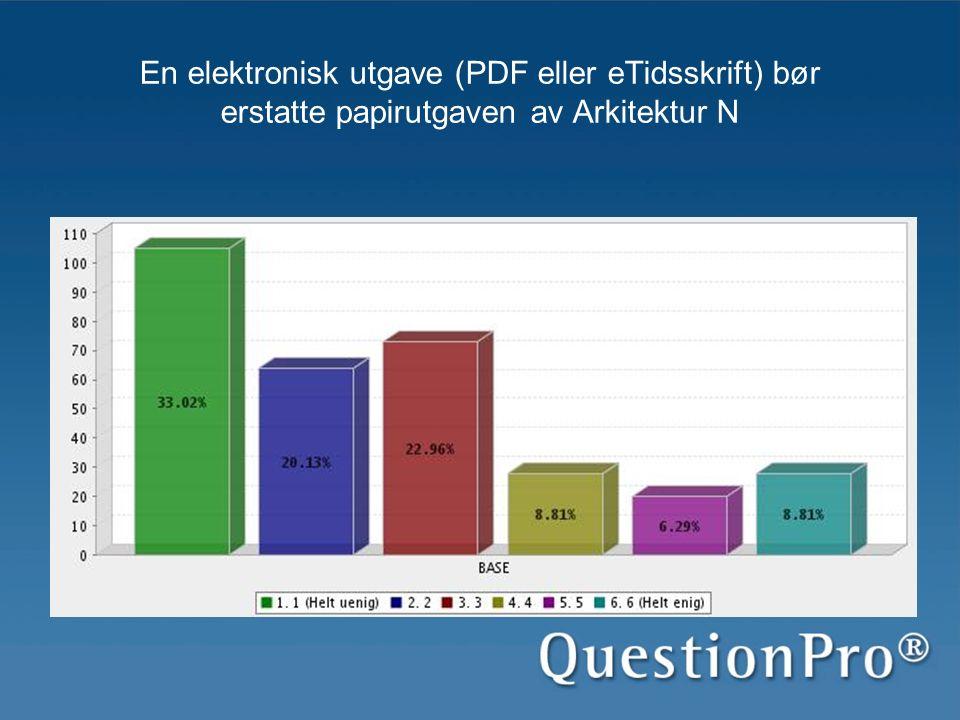 En elektronisk utgave (PDF eller eTidsskrift) bør erstatte papirutgaven av Arkitektur N