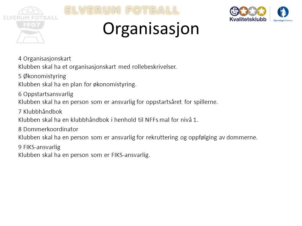 Organisasjon 4 Organisasjonskart Klubben skal ha et organisasjonskart med rollebeskrivelser.