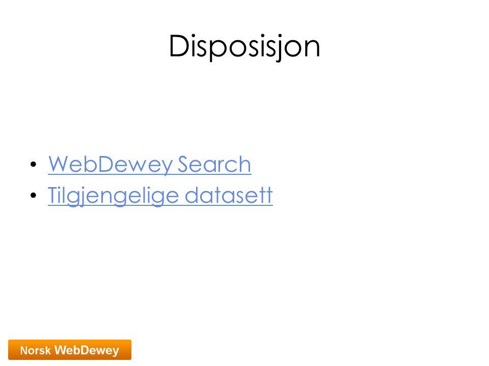 Disposisjon WebDewey Search Tilgjengelige datasett